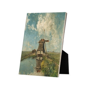Image of our reproduction of A Windmill on a Polder Waterway by Paul Joseph Constantin Gabriel on ceramic tiles with easelback, small