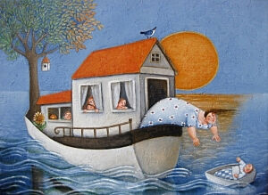 Afbeelding van onze reproductie van Aangekomen by Ada Breedveld op canvas, klein