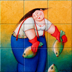Small image of our reproduction of Chammy by Ada Breedveld on ceramic tiles tableaus