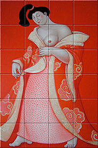 Small image of our reproduction of Hazukashiso by Ada Breedveld on ceramic tiles tableaus