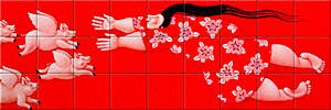 Small image of our reproduction of Heavenly Happiness by Ada Breedveld on ceramic tiles tableaus