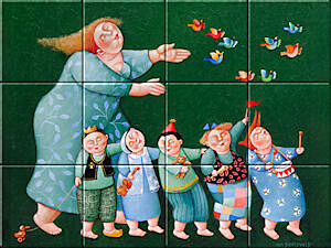 Small image of our reproduction of Party by Ada Breedveld on ceramic tiles tableaus