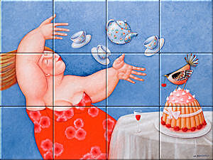 Small image of our reproduction of High Tea by Ada Breedveld on ceramic tiles tableaus