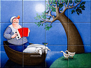 Small image of our reproduction of Boating by Ada Breedveld on ceramic tiles tableaus
