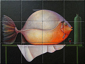Small image of our reproduction of Big Fish by Ada Breedveld on ceramic tiles tableaus