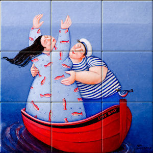 Small image of our reproduction of Saltwater Love by Ada Breedveld on ceramic tiles tableaus