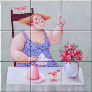 Small image of our reproduction of Every Day is a Party by Ada Breedveld on ceramic tiles tableaus
