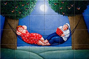 Small image of our reproduction of Warm Feet by Ada Breedveld on ceramic tiles tableaus