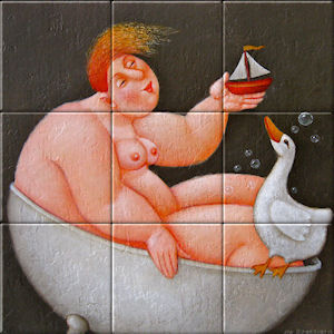 Small image of our reproduction of In the Tub by Ada Breedveld on ceramic tiles tableaus