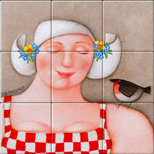 Small image of our reproduction of In good Humour by Ada Breedveld on ceramic tiles tableaus