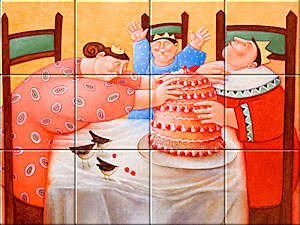 Small image of our reproduction of Birthday Cake by Ada Breedveld on ceramic tiles tableaus