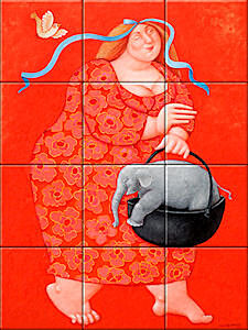 Small image of our reproduction of I will bring you home my friend by Ada Breedveld on ceramic tiles tableaus
