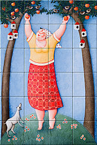 Small image of our reproduction of Harvest by Ada Breedveld on ceramic tiles tableaus