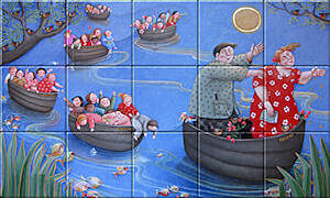 Small image of our reproduction of School Trip by Ada Breedveld on ceramic tiles tableaus