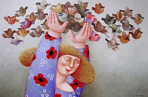 Afbeelding van onze reproductie van Alle vogels vliegen by Ada Breedveld op canvas, klein