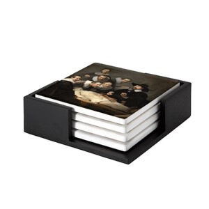 Image of our reproduction of Anatomy Lesson of Dr. N. Tulp by Rembrandt van Rijn on ceramic coaster sets, small