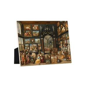 Image of our reproduction of Apelles Painting Campaspe by Willem van Haecht on ceramic tiles with easelback, small