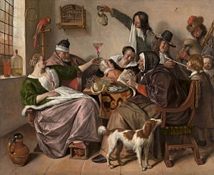 Image of our reproduction of As the Old Sing, So Pipe the Young by Jan Havicksz. Steen on canvas, small