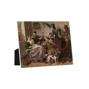 Image of our reproduction of As the Old Sing, So Pipe the Young by Jan Havicksz. Steen on ceramic tiles with easelback, small