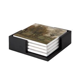 Image of our reproduction of Autumn Landscape by Vincent van Gogh on ceramic coaster sets, small