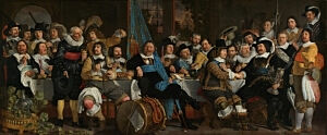 Image of our reproduction of Banquet at the Crossbowmen's Guild in Celebration of the Treaty of Munster by Bartholomeus van der Helst on canvas, small