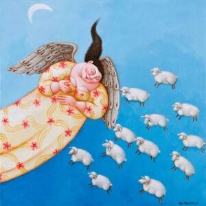 Afbeelding van onze reproductie van Beschermengel by Ada Breedveld op canvas, klein