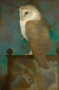 Image of our reproduction of Big Owl on Screen by Jan Mankes on canvas, small