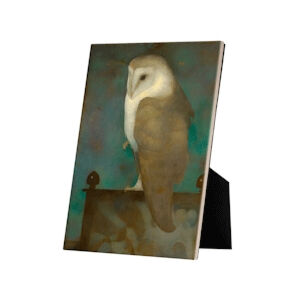 Image of our reproduction of Big Owl on Screen on tile with easelback by Jan Mankes on ceramic tiles with easelback, small