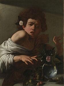 Afbeelding van onze reproductie van Een jongen gebeten door een hagedis by Michelangelo Merisi da Caravaggio op canvas, klein