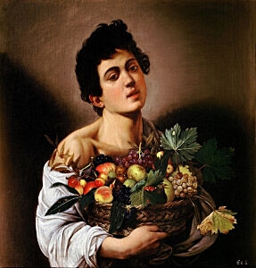 Image of our reproduction of Boy with a Basket of Fruit by Michelangelo Merisi da Caravaggio on canvas, small