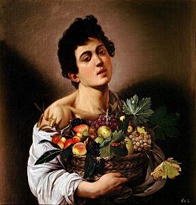Afbeelding van onze reproductie van Jongen met fruitmand by Michelangelo Merisi da Caravaggio op canvas, klein
