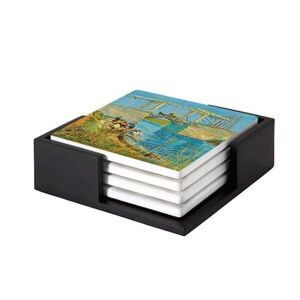 Image of our reproduction of Bridge at Arles (Pont de Langlois) by Vincent van Gogh on ceramic coaster sets, small