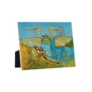 Image of our reproduction of Bridge at Arles (Pont de Langlois) by Vincent van Gogh on ceramic tiles with easelback, small