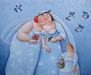Afbeelding van onze reproductie van Bruidsmeisjes by Ada Breedveld op canvas, klein