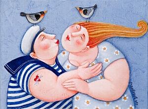 Afbeelding van onze reproductie van Buitenboord by Ada Breedveld op canvas, klein