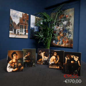 Caravaggio set of 5 ceramic tiles with easelback