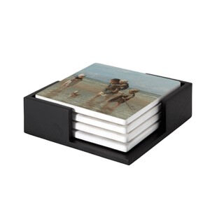 Image of our reproduction of Children of the Sea by Jozef Israels on ceramic coaster sets, small