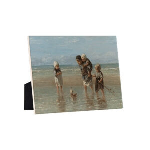 Image of our reproduction of Children of the Sea by Jozef Israels on ceramic tiles with easelback, small