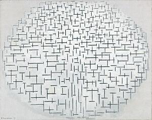 Afbeelding van onze reproductie van Compositie 10 in zwart wit by Piet Mondriaan op canvas, klein