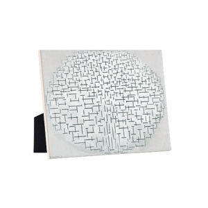 Image of our reproduction of Composition 10 in Black and White by Piet Mondriaan on ceramic tiles with easelback, small
