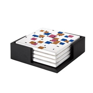 Image of our reproduction of Composition in Colour A by Piet Mondriaan on ceramic coaster sets, small