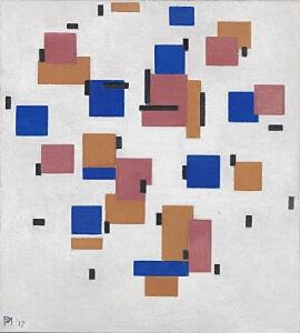 Afbeelding van onze reproductie van Compositie in kleur B by Piet Mondriaan op canvas, klein