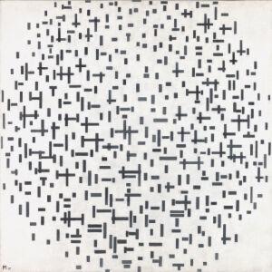 Afbeelding van onze reproductie van Compositie in lijn, tweede staat by Piet Mondriaan op canvas, klein