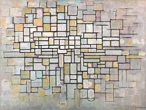 Afbeelding van onze reproductie van Compositie No. II by Piet Mondriaan op canvas, klein