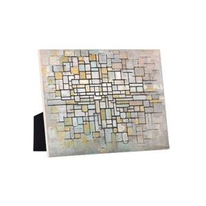 Image of our reproduction of Composition no. II by Piet Mondriaan on ceramic tiles with easelback, small