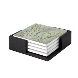 Image of our reproduction of Composition No. XI by Piet Mondriaan on ceramic coaster sets, small