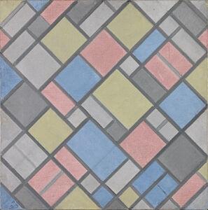 Afbeelding van onze reproductie van Compositie met raster 6 (ruit, compositie met kleuren) by Piet Mondriaan op canvas, klein