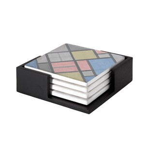 Image of our reproduction of Composition with Grid 6 (Lozenge, Composition with Colours) by Piet Mondriaan on ceramic coaster sets, small