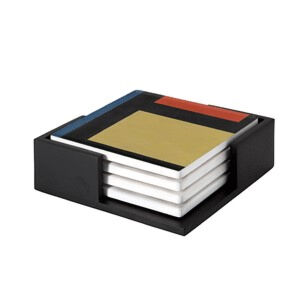 Image of our reproduction of Contra-Composition X by Theo van Doesburg on ceramic coaster sets, small