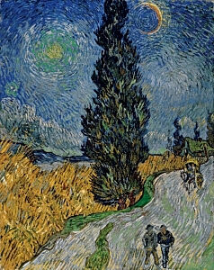 Image of our reproduction of Country Road in Provence by Night by Vincent van Gogh on canvas, small